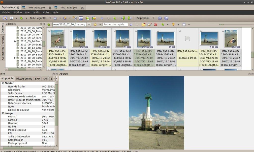La navigation dans xnview sous Linux